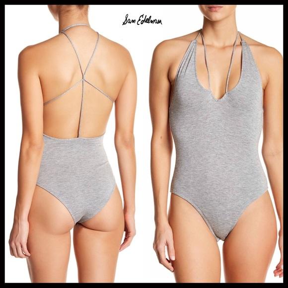 35be8d18cb8 Sam Edelman Tops | Strappy Open Back Vneck Knit Bodysuit | Poshmark